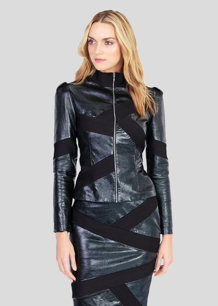 Macee – Leather Jacket with Jackie O Collar
