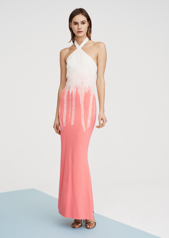 Maelyn - Halter Gown with Brush Stroke Ombré Design