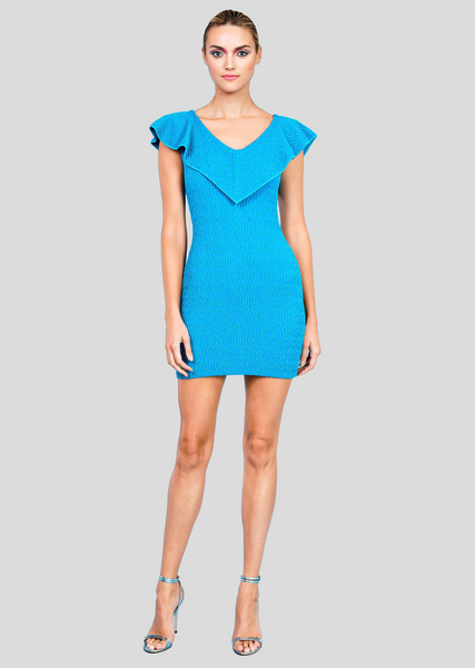 Malerie - Short Party Dress with Metallic Wave Texture