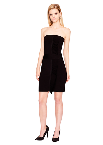 Mardi - Ruffle Front Milano Knit Strapless Black Bodycon Dress