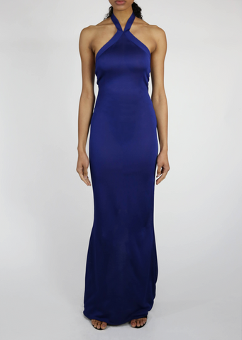 Marine - Royal Blue or Turquoise Jersey Halter Gown