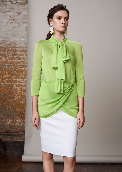 Marion - Wrap Top with Neck Tie and Scalloped Hem