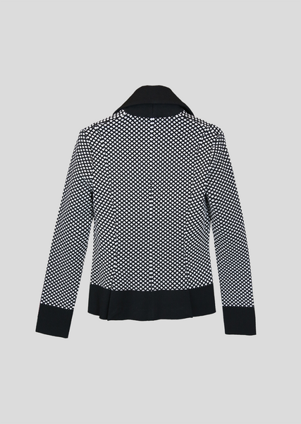 Maurelle – Structured Blazer with Thick Black Trim and Diamond Pattern