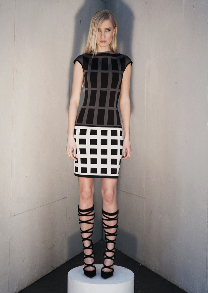 Maxine - Geometric Knitted Black Dress with Grey and White Detailing