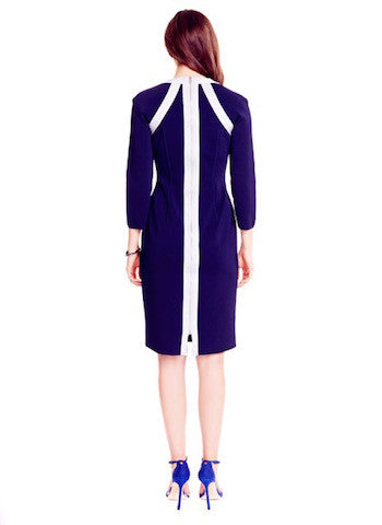 Nadine - White Banded, Square Neckline, Navy Blue Sheath Dress