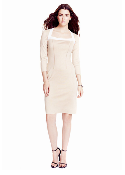Nadine - White Banded, Square Neckline, Nude Sheath Dress