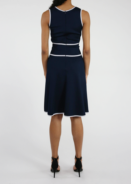 Emmanuelle - Soft Viscose Sleeveless Dress with Piping