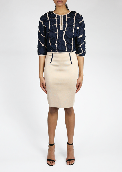 Evette - Pique Knit Pencil Skirt