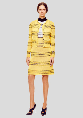 Nina - Daffodil Yellow Cardigan Sweater with Black Raffia Detail