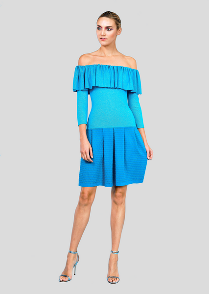 Nynette Dress - Metallic Ruffle Shoulder Dress with Pleated Skirt and Drop Waist