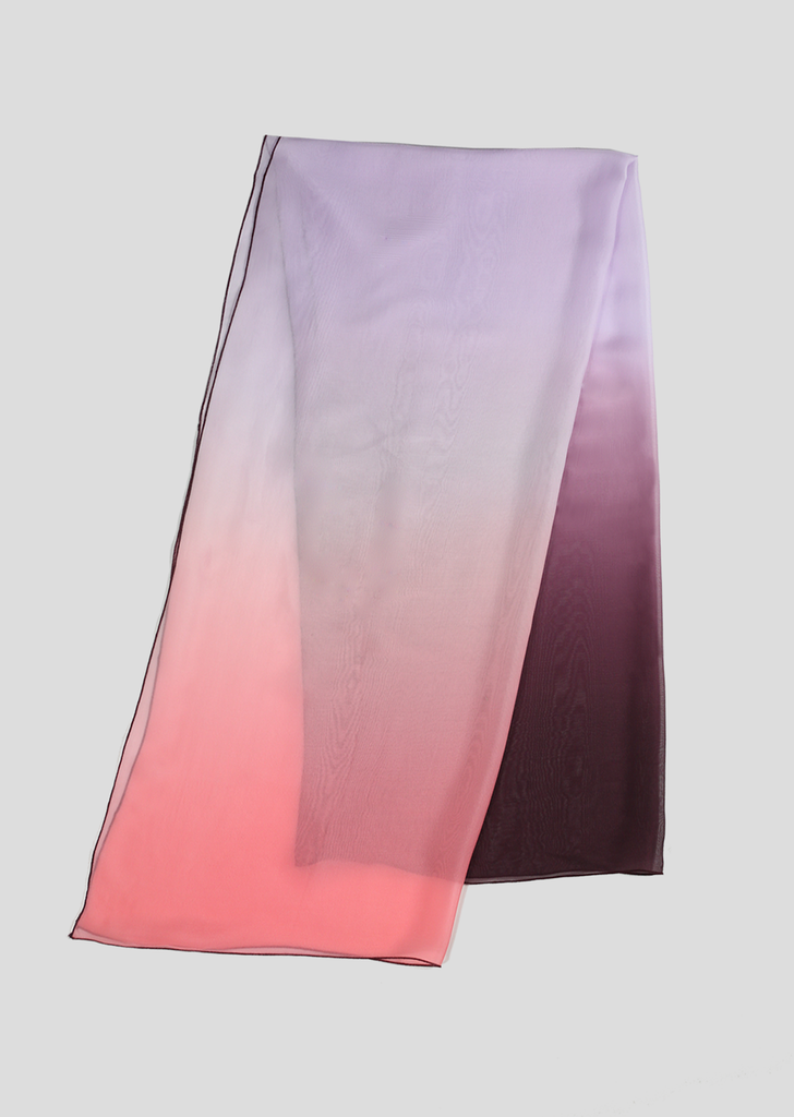 Plum, Lavender and Pink Silk Chiffon Ombre Scarf