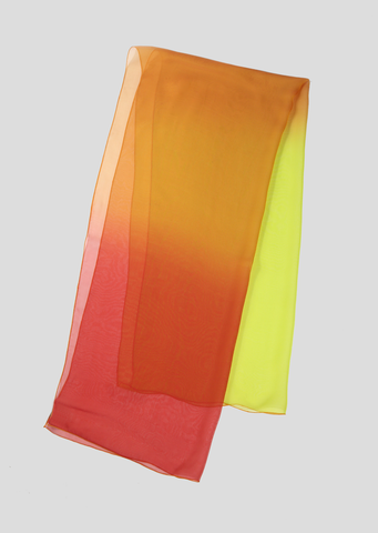 Red, Orange and Yellow Ombre Silk Chiffon Scarf