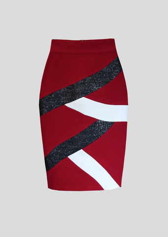 Pansy – High Waist Raffia Striped Pencil Skirt