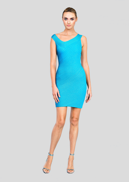 Parnella - Asymmetrical Neckline Party Dress with Metallic Wave Texture