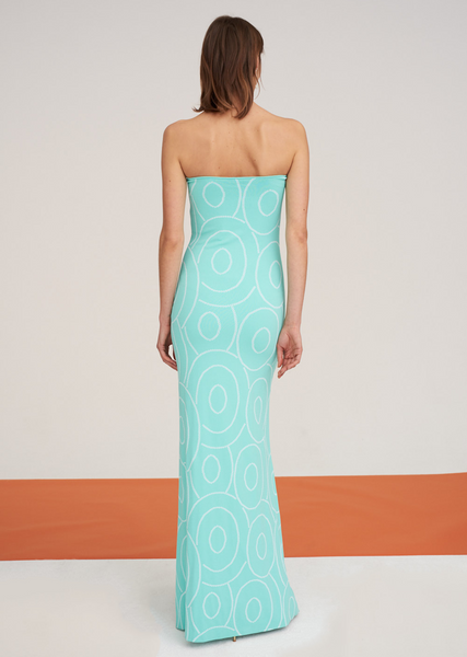 Pascaline - Strapless Knit Gown with Laser Cut Design