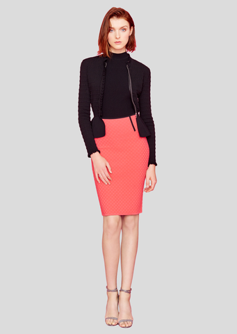 Pauline - Polka Dot Colored Pencil Skirts, Stretch Skirt