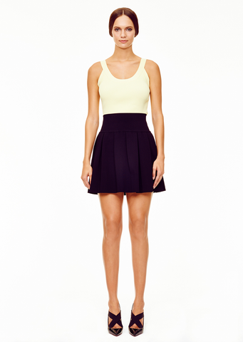Penelope - Knit, Pleated Black Yoke Skirt