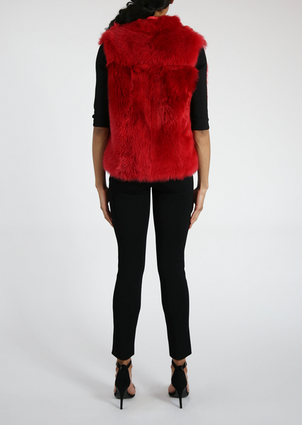Red Sheered Mink Fur Vest