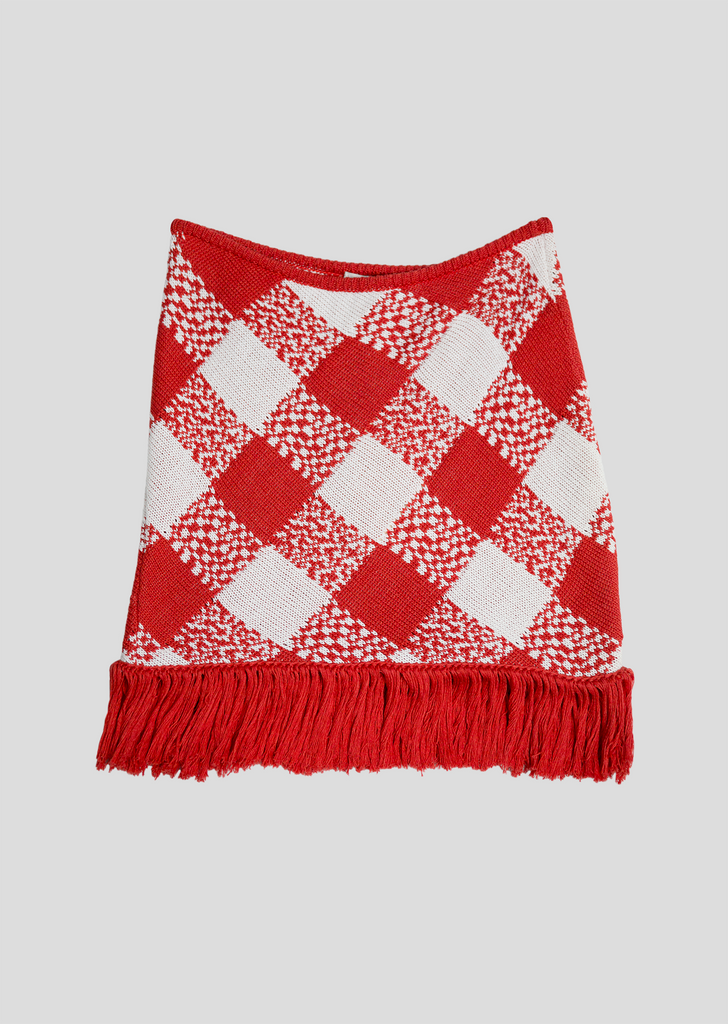 Red and White Fringe Skirt Sale - Checkered Pattern