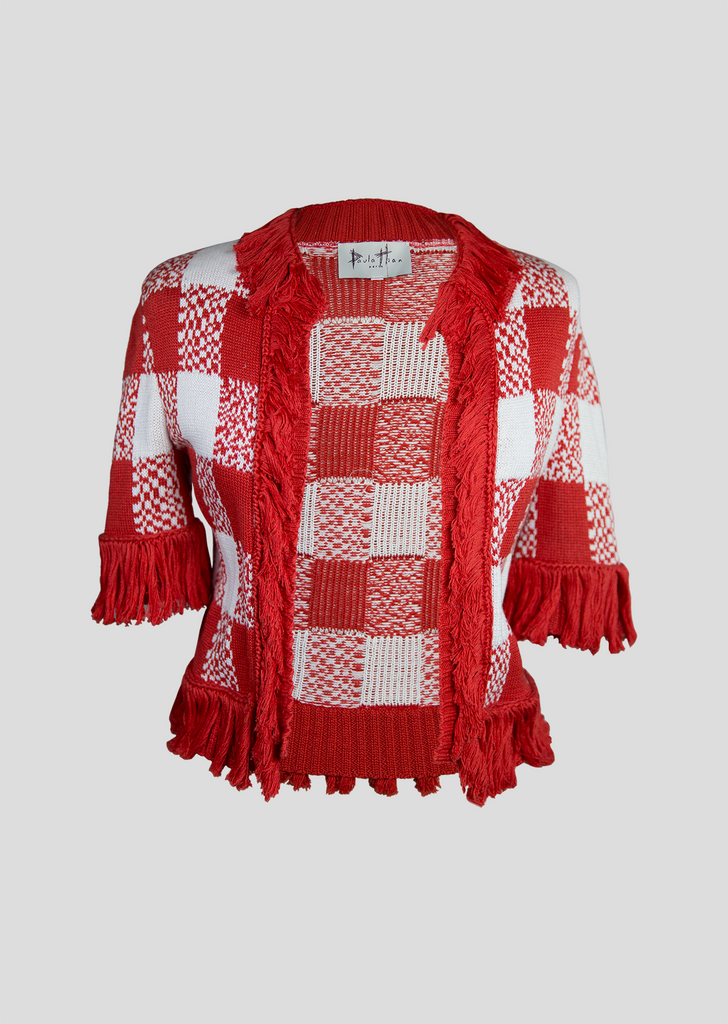Red and White Fringe Cardigan Sweater Sale - Checkered Pattern