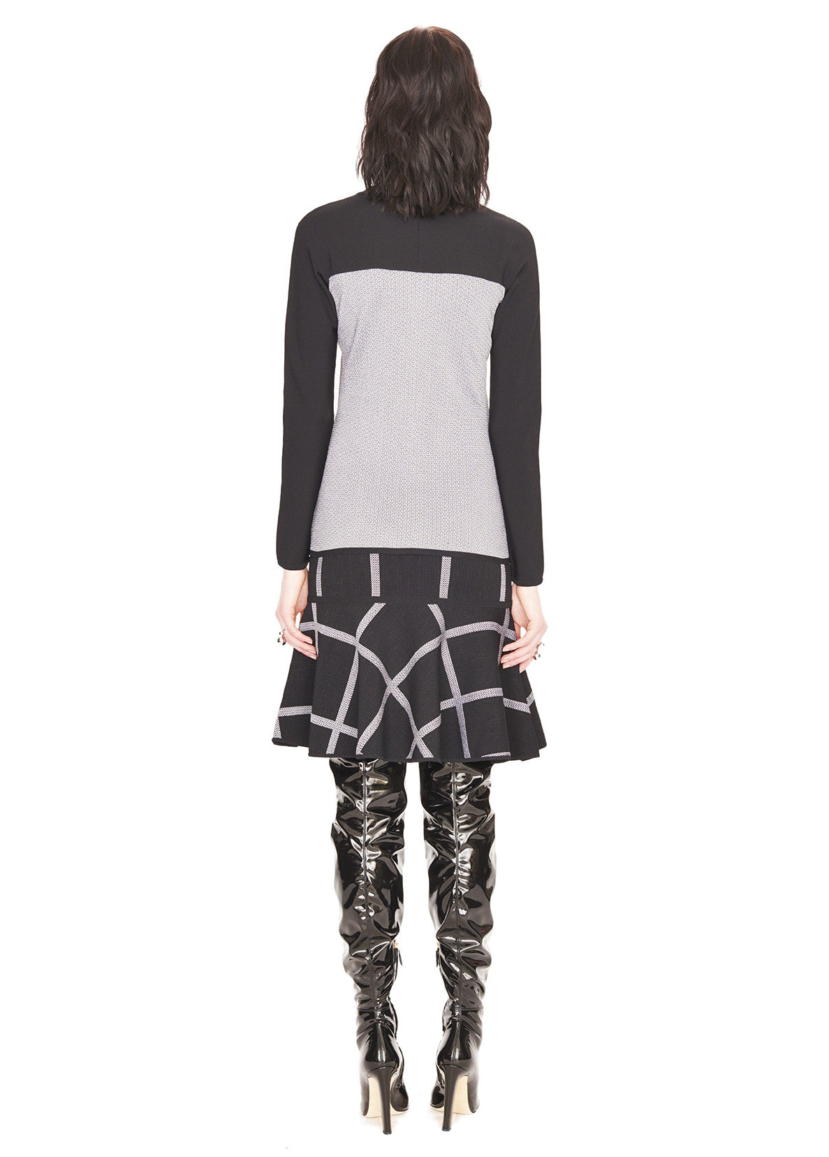 Nicole - Abstract Women's Jacquard Black and White Plaid Skirt