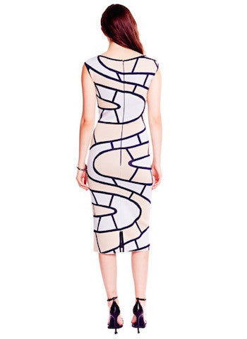 Sydney -  Abstract, Cap Sleeve Navy Blue, Beige, and White Pencil Dress