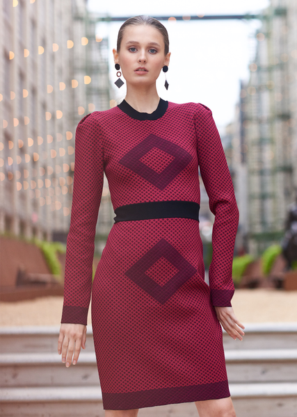 Sage – Diamond Motif Pencil Dress with Long Sleeves