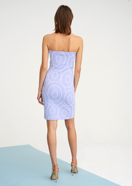 Sandrine - Strapless Knit Dress with Laser Cut Design