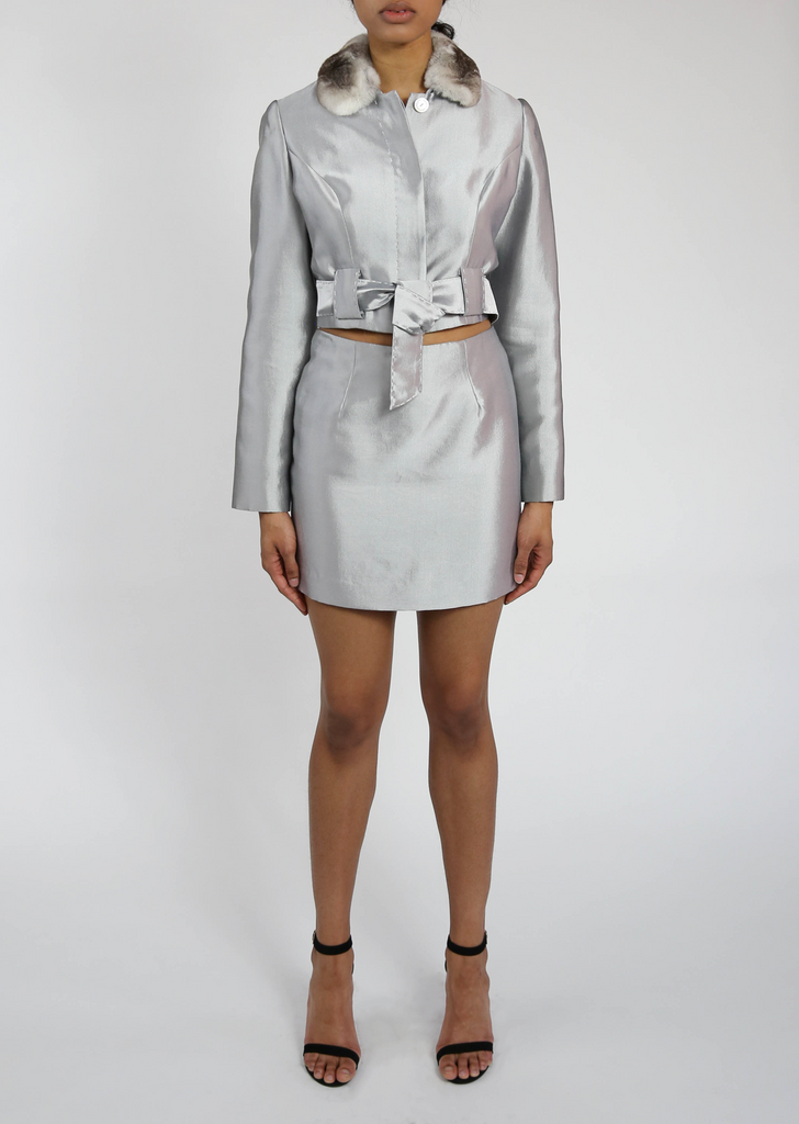 Fur Collar, Wool and Silk, Metallic Grey Jacket and Skirt Suit