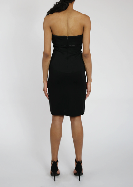 Strapless Black Pencil Dress with Reflective Trim
