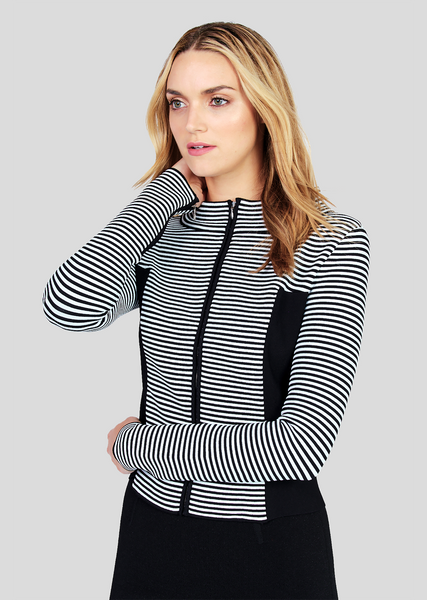 Dany – Contrasting Stripe Jacket with Solid Side Panels