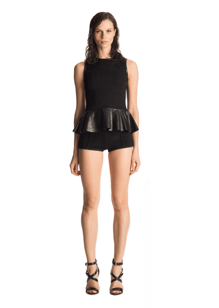 Yvonne - Knit Womens Tight Black Short Shorts