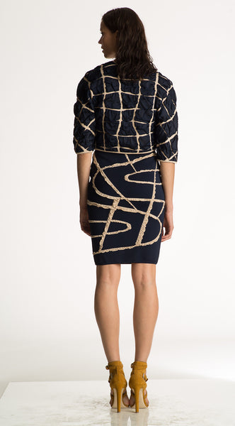 Adele - Woman's Dark Navy and Beige Pencil Skirt
