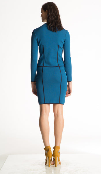 Madeleine - Jacquard Knit, Lightweight Sapphire Blue Jacket with Black Trim