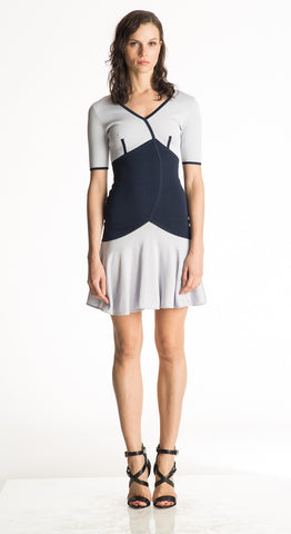 Clodia - Empire Waist, Light and Navy Blue V Neck Dress