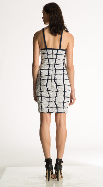 Louella - Spaghetti Strap White Bodycon Dress with Navy Blue Design