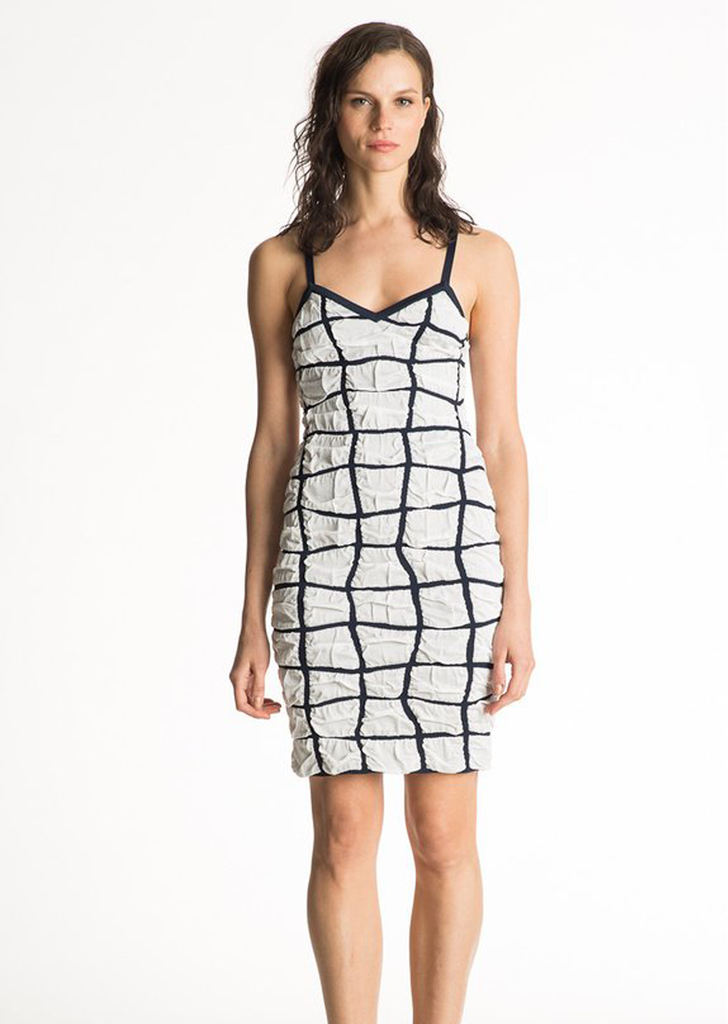 Louella - Spaghetti Strap Bodycon Dress with Windowpane Design