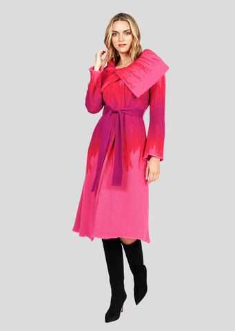 Lia  – Ombre Mohair Coat with Belt