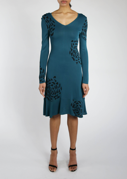 Long Sleeve Teal Dress with Abstract Black Flowers