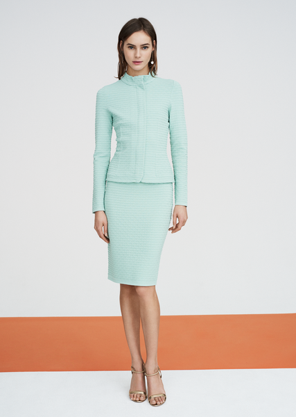 Brienne - Pencil Skirt with Wave Texture Detail