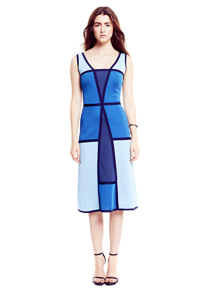 Vivienne - Pique Knit, Azure, Cobalt, Midnight and Light Blue Midi Dress