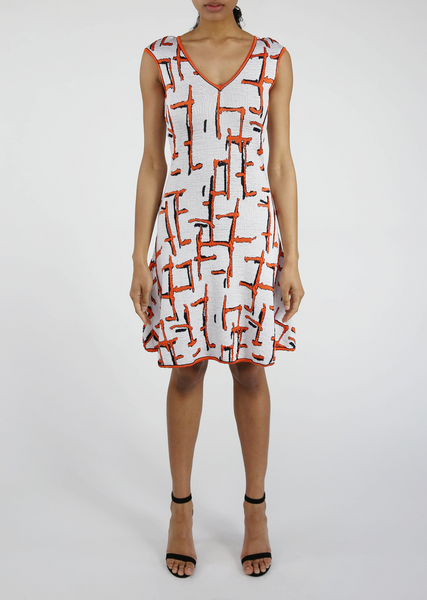 V Neck, Coral, Black and White Dress Sale - Barbed Detail