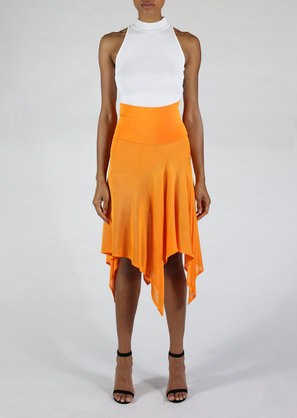 Isabeau - High Waist Handkerchief Hem Skirt