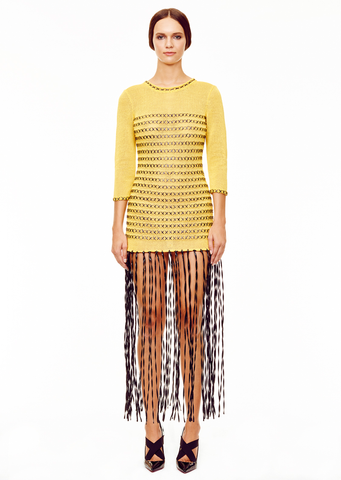 Yasmine - 3/4 Sleeve, Yellow Fringe Dress - Black Raffia Stitch Detail and Trim