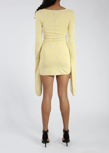 Vintage Yellow Bell Sleeve Dress