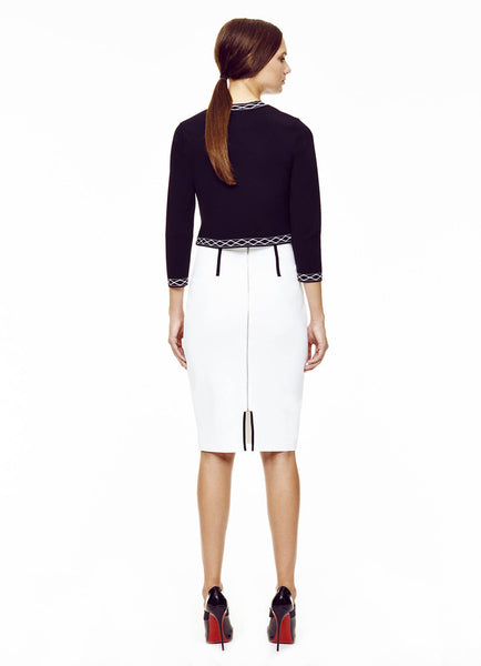 08a5c00e10 Milano Knit, Slit White Pencil Skirt with Contrast Piping – Paula Hian -  Designer