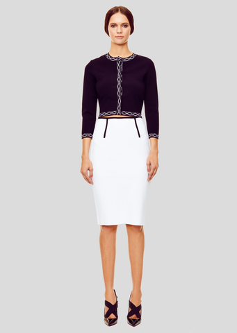 Zoe - Milano Knit, Slit White Pencil Skirt with Contrast Piping