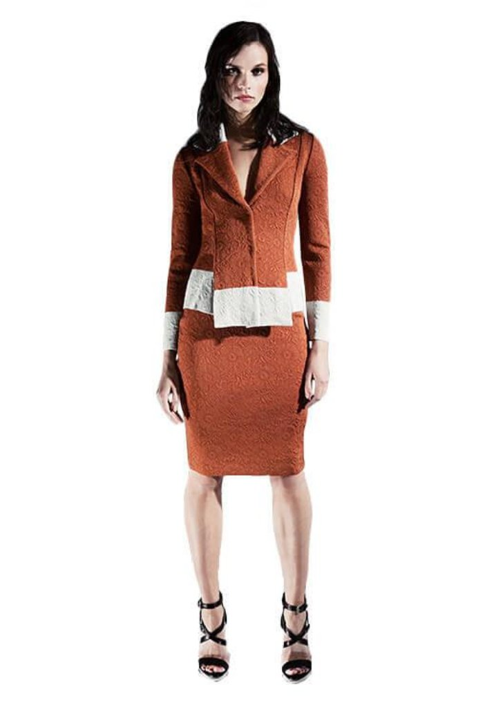 Aveline - Pleated, Double Breasted, Rust Orange Quilted Jacket