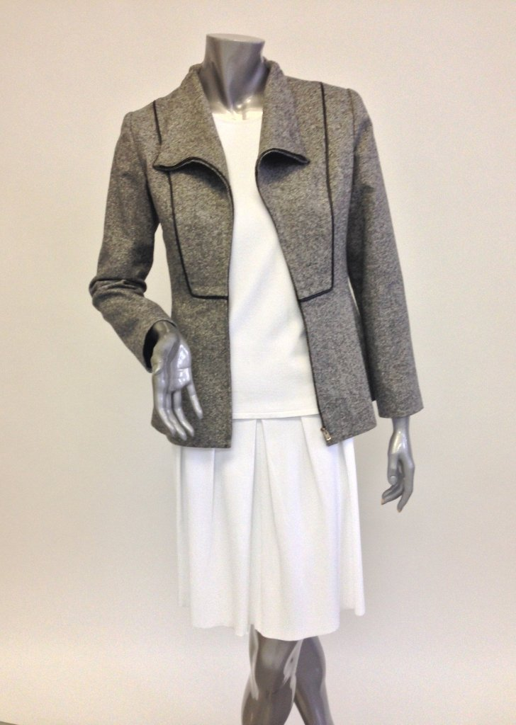 Grey Blazer, Tweed Jacket Sale - Ponte Knit