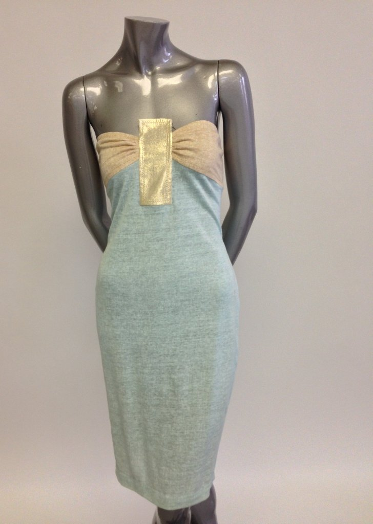 Strapless Mint Blue Dress with Orange and Yellow Bust